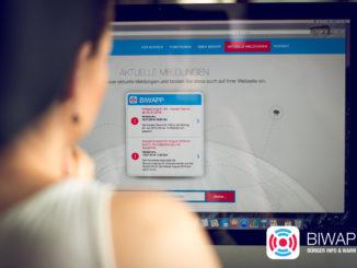 Meldungen und Warnungen werden auch im Web veröffentlicht. Copyright Marktplatz GmbH - Agentur für Web & App
