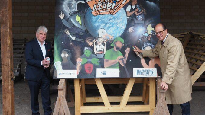 """IHK und HWK stiften Graffiti-Kunstwerk zur Ausbildung Kunstwerk wird zum Beratungstag """"Deine Zukunft als Azubi"""" verlost"""